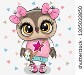 cute cartoon owl girl with bows ... | Shutterstock .eps vector #1305033850