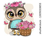 cute cartoon owl with flowers... | Shutterstock .eps vector #1305033853