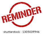 reminder red round stamp | Shutterstock .eps vector #1305039946