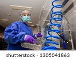 a young woman works in a... | Shutterstock . vector #1305041863