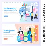 implementing business solutions ... | Shutterstock .eps vector #1305055606
