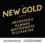vector new gold alphabet and... | Shutterstock .eps vector #1305056680