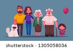 big happy family together.... | Shutterstock .eps vector #1305058036