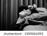 monochrome portrait of... | Shutterstock . vector #1305061093