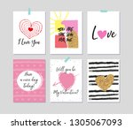 set of romantic greeting card... | Shutterstock .eps vector #1305067093