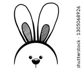 sketch rabbit ears with a... | Shutterstock .eps vector #1305068926
