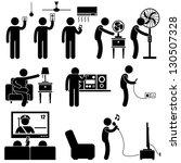 man using home appliances...   Shutterstock . vector #130507328