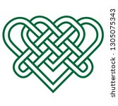 green celtic knot heart | Shutterstock .eps vector #1305075343