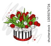 box with a bouquet of tulips.... | Shutterstock .eps vector #1305076726