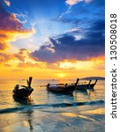 Stock photo traditional thai boats at sunset beach ao nang krabi province 130508018