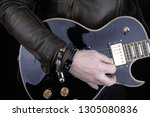 Guitarist.Closeup of electrical guitar fingerboard.Hand of rocker in leather  bracelet.Rock & roll, heavy metal,gothic,punk,horns sign and fist.Hard style.Rivets accessories - stock photo