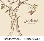 card design with stylized apple ... | Shutterstock .eps vector #130509530