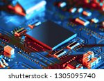 electronic circuit board close... | Shutterstock . vector #1305095740