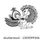 sketch hand drawing of paisley... | Shutterstock .eps vector #1305099346
