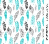 seamless pattern with feathers | Shutterstock . vector #1305103723