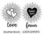doodle hearts love pattern with ... | Shutterstock .eps vector #1305109093