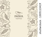 background with papaya and... | Shutterstock .eps vector #1305113419