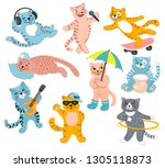 set of cute cats with musical...   Shutterstock .eps vector #1305118873