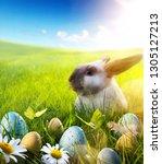 april easter bunny  baby rabbit ... | Shutterstock . vector #1305127213