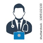 doctor icon with medicine box....   Shutterstock .eps vector #1305132133