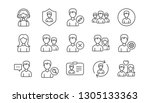 user person line icons. profile ... | Shutterstock .eps vector #1305133363