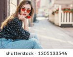 young fashionable girl wearing... | Shutterstock . vector #1305133546