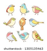 collection of cute little birds ... | Shutterstock .eps vector #1305135463