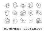 skin care line icons. cream ... | Shutterstock .eps vector #1305136099