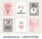 baby shower cute cards ... | Shutterstock .eps vector #1305155206