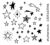 star doodles  hand drawn stars... | Shutterstock .eps vector #1305163546