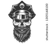 skull in the policeman hat. ... | Shutterstock . vector #1305168100