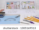 millimeter paper with drawing... | Shutterstock . vector #1305169513