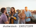 couples having fun on the... | Shutterstock . vector #1305172399