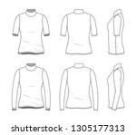 blank clothing templates of... | Shutterstock .eps vector #1305177313