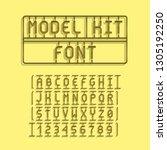 dark model kit font. letters...   Shutterstock .eps vector #1305192250
