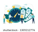 time is money  business and... | Shutterstock .eps vector #1305212776