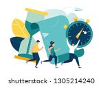 concept save time  money saving.... | Shutterstock .eps vector #1305214240