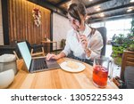 pretty woman overloaded with...   Shutterstock . vector #1305225343