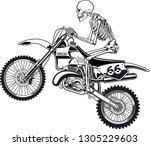 human skeleton on motocross...   Shutterstock .eps vector #1305229603