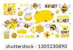 set of bee  honey  lettering... | Shutterstock .eps vector #1305230890