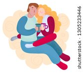 young couple in love man and... | Shutterstock .eps vector #1305233446