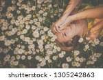 portrait of young  woman with... | Shutterstock . vector #1305242863