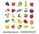 fruit melon apple strawberry...   Shutterstock .eps vector #1305249229