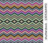 seamless colorful vector zigzag ... | Shutterstock .eps vector #1305264493
