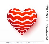3d heart with pattern of red... | Shutterstock .eps vector #1305271630