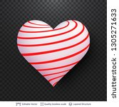 3d heart with pattern of red... | Shutterstock .eps vector #1305271633