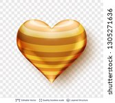 3d heart with pattern of golden ... | Shutterstock .eps vector #1305271636