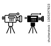 movie camera on a tripod line... | Shutterstock .eps vector #1305297823