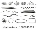hand drawn underlines on white. ... | Shutterstock .eps vector #1305315559