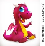 little red dragon cartoon... | Shutterstock .eps vector #1305334243